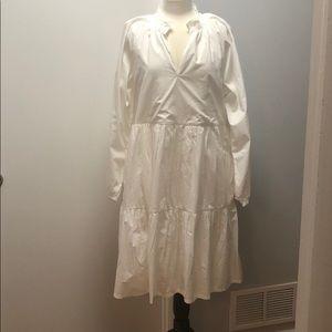 JCrew XLT white tiered popover dress in cotton